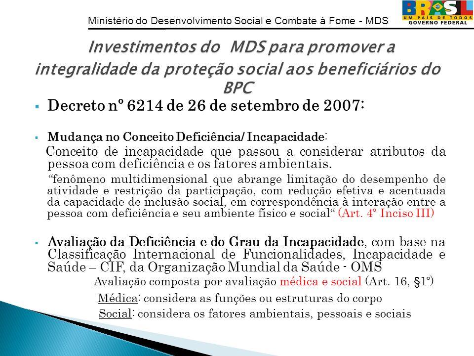 Ministério do Desenvolvimento Social e Combate à Fome - MDS Decreto nº 6214 de 26 de setembro de 2007: Mudança no Conceito Deficiência/ Incapacidade: