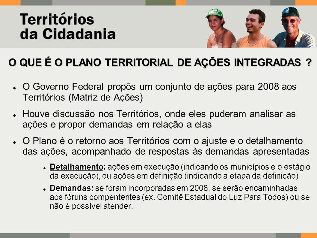 O Governo Federal propôs um conjunto de ações para 2008 aos Territórios (Matriz de Ações) Houve discussão nos Territórios, onde eles puderam analisar