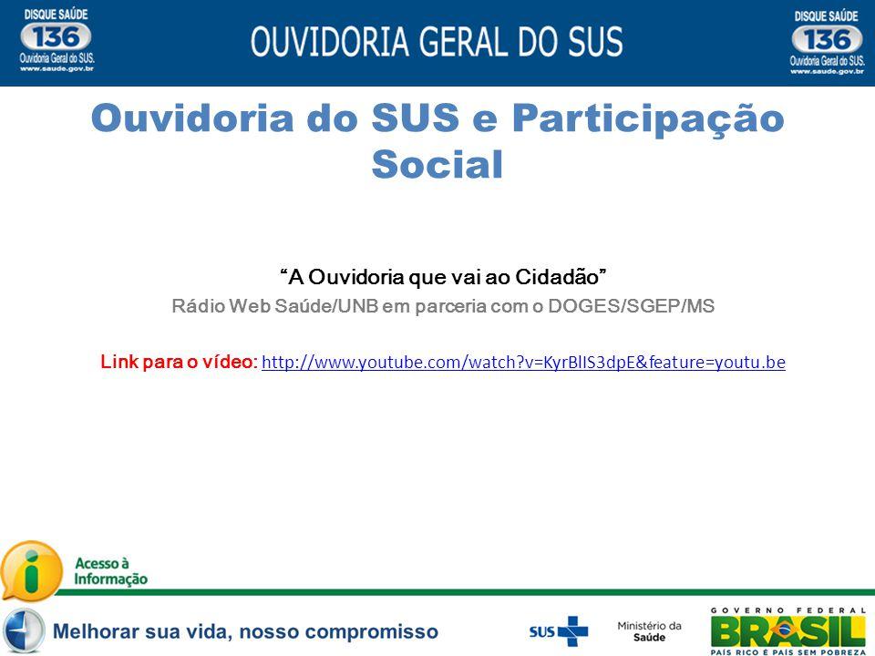 A Ouvidoria que vai ao Cidadão Rádio Web Saúde/UNB em parceria com o DOGES/SGEP/MS Link para o vídeo: http://www.youtube.com/watch?v=KyrBlIS3dpE&feature=youtu.be http://www.youtube.com/watch?v=KyrBlIS3dpE&feature=youtu.be Conceito Ouvidoria do SUS e Participação Social