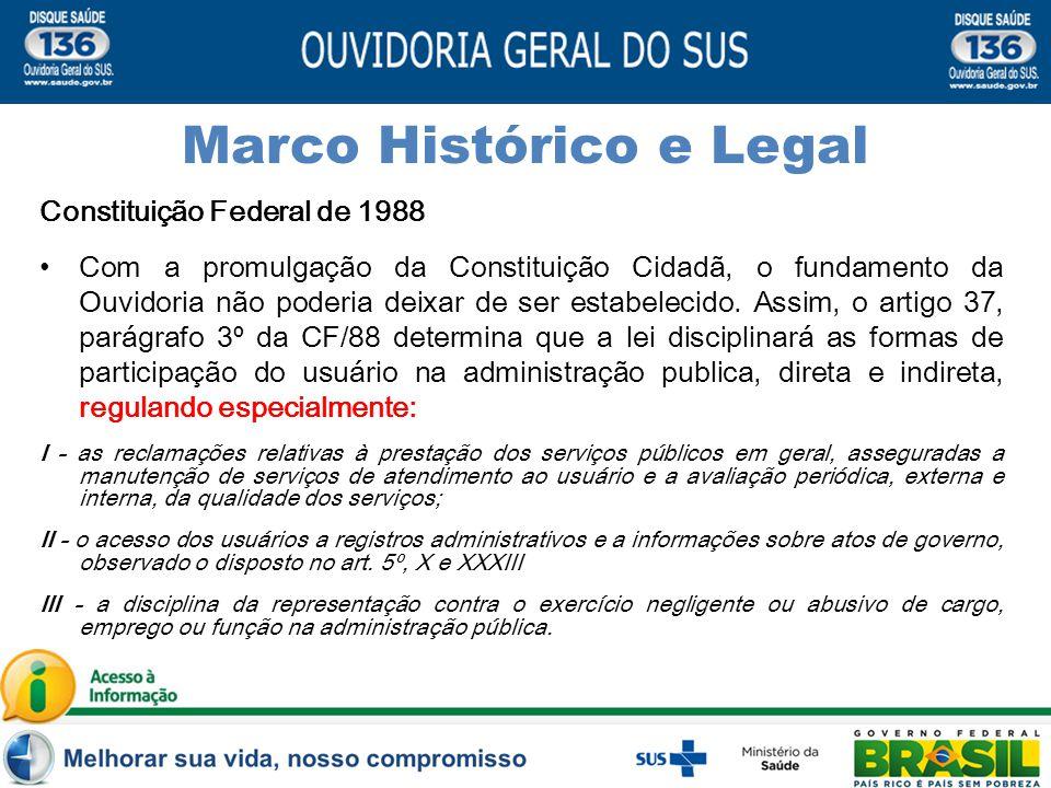 Marco Histórico e Legal Constituição Federal de 1988 Com a promulgação da Constituição Cidadã, o fundamento da Ouvidoria não poderia deixar de ser estabelecido.