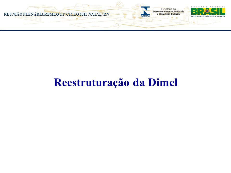 REUNIÃO PLENÁRIA RBMLQ-I 1º CICLO 2011 NATAL/ RN Reestruturação da Dimel