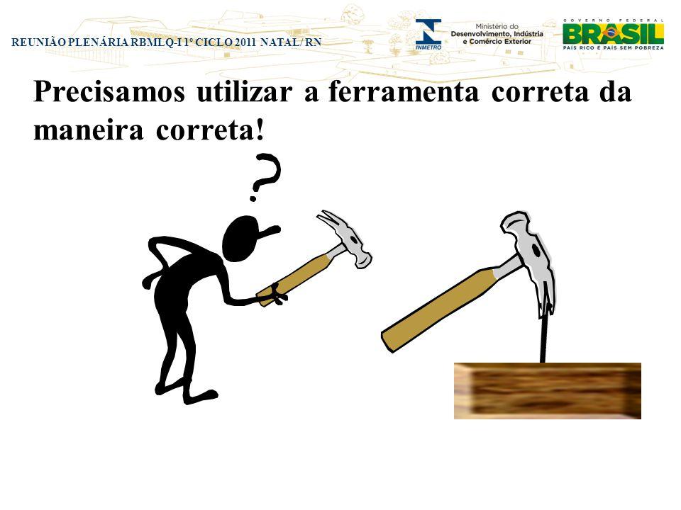REUNIÃO PLENÁRIA RBMLQ-I 1º CICLO 2011 NATAL/ RN Precisamos utilizar a ferramenta correta da maneira correta!