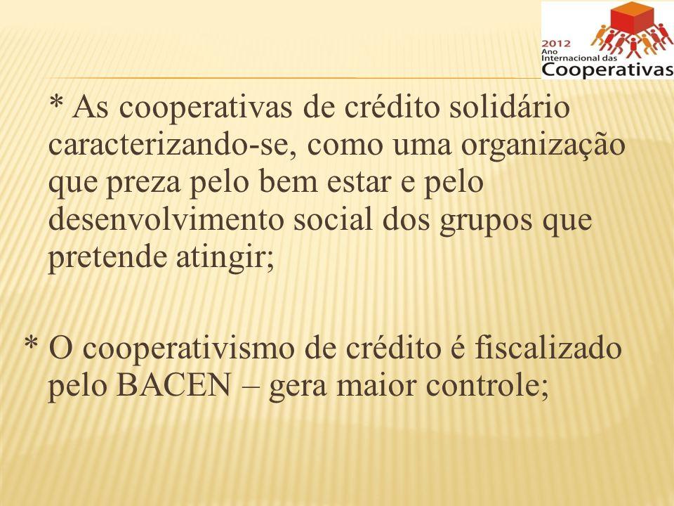 * As cooperativas de crédito solidário caracterizando-se, como uma organização que preza pelo bem estar e pelo desenvolvimento social dos grupos que p