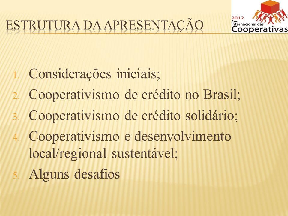 1. Considerações iniciais; 2. Cooperativismo de crédito no Brasil; 3. Cooperativismo de crédito solidário; 4. Cooperativismo e desenvolvimento local/r