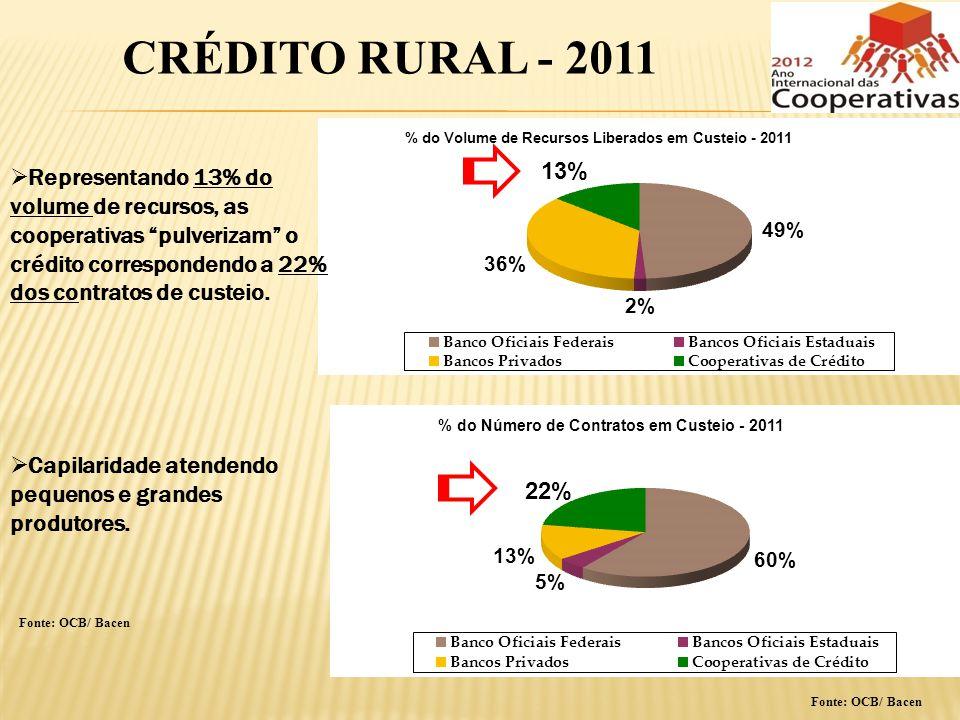 Fonte: OCB/ Bacen CRÉDITO RURAL - 2011 Representando 13% do volume de recursos, as cooperativas pulverizam o crédito correspondendo a 22% dos contrato