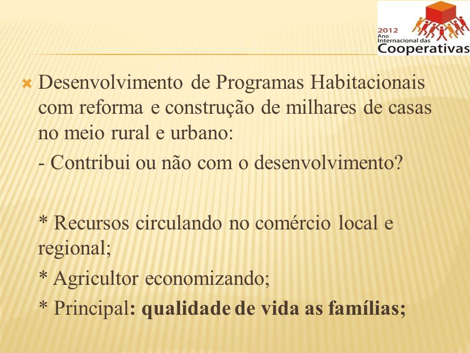 Desenvolvimento de Programas Habitacionais com reforma e construção de milhares de casas no meio rural e urbano: - Contribui ou não com o desenvolvime