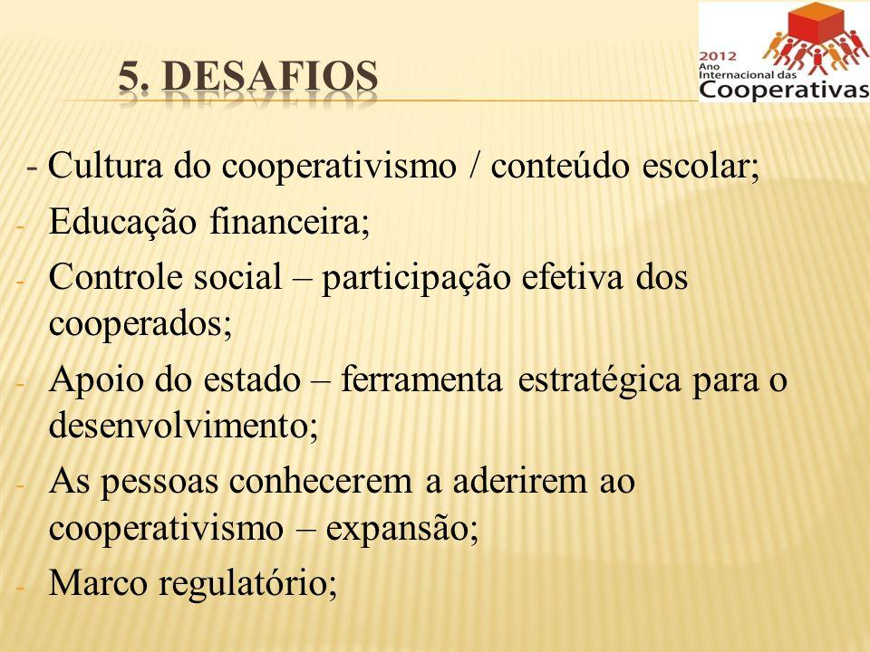 - Cultura do cooperativismo / conteúdo escolar; - Educação financeira; - Controle social – participação efetiva dos cooperados; - Apoio do estado – fe
