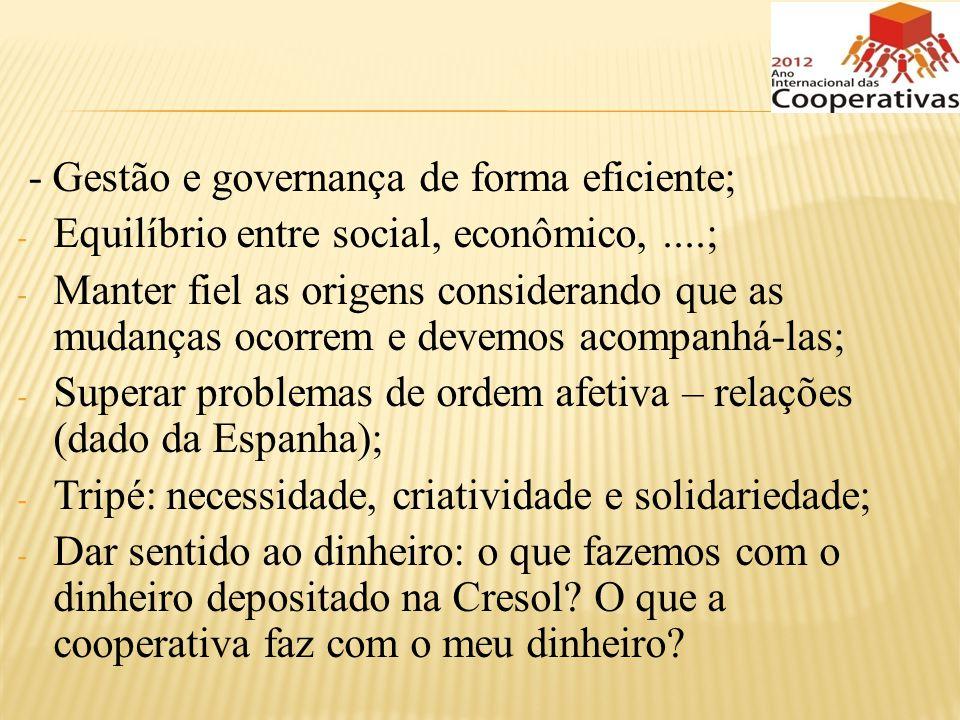 - Gestão e governança de forma eficiente; - Equilíbrio entre social, econômico,....; - Manter fiel as origens considerando que as mudanças ocorrem e d