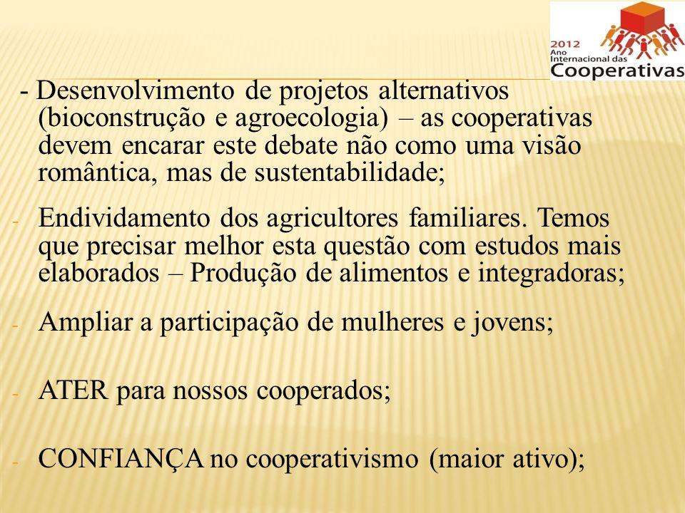 - Desenvolvimento de projetos alternativos (bioconstrução e agroecologia) – as cooperativas devem encarar este debate não como uma visão romântica, ma