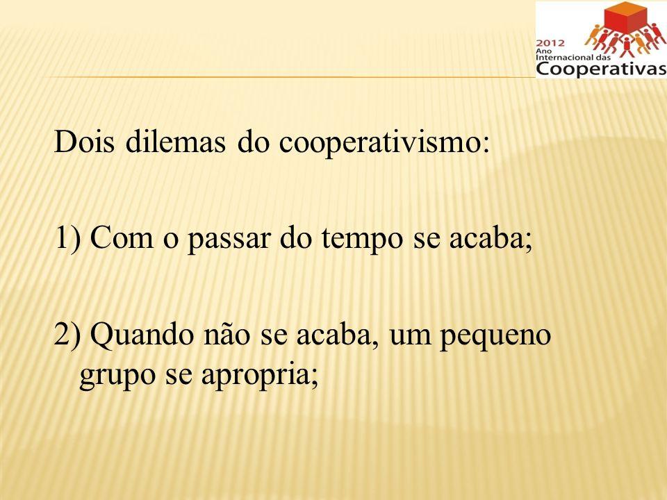 Dois dilemas do cooperativismo: 1) Com o passar do tempo se acaba; 2) Quando não se acaba, um pequeno grupo se apropria;