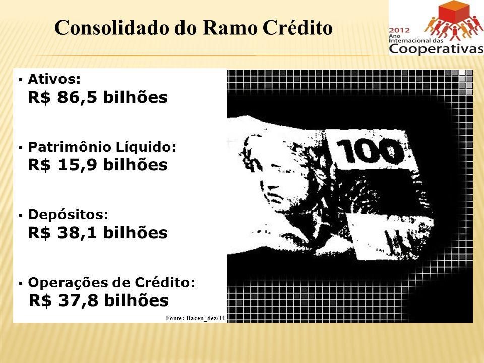 Ativos: R$ 86,5 bilhões Patrimônio Líquido: R$ 15,9 bilhões Depósitos: R$ 38,1 bilhões Operações de Crédito: R$ 37,8 bilhões Consolidado do Ramo Crédi