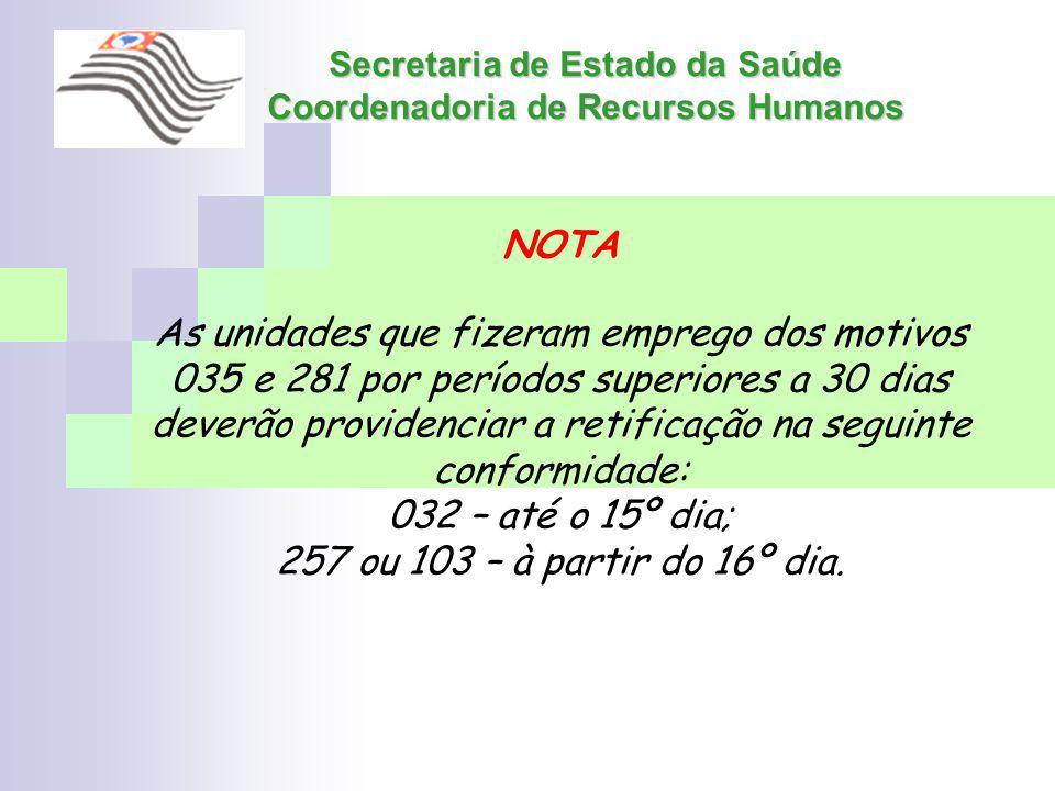 Secretaria de Estado da Saúde Coordenadoria de Recursos Humanos NOTA As unidades que fizeram emprego dos motivos 035 e 281 por períodos superiores a 3