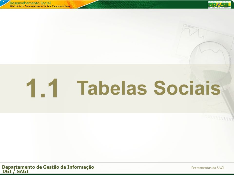 Departamento de Gestão da Informação DGI / SAGI Ferramentas da SAGI Tabelas Sociais 1.1