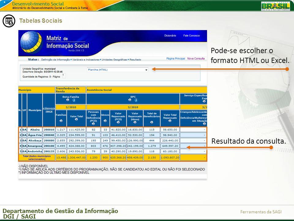 Departamento de Gestão da Informação DGI / SAGI Ferramentas da SAGI Pode-se escolher o formato HTML ou Excel. Resultado da consulta. Tabelas Sociais