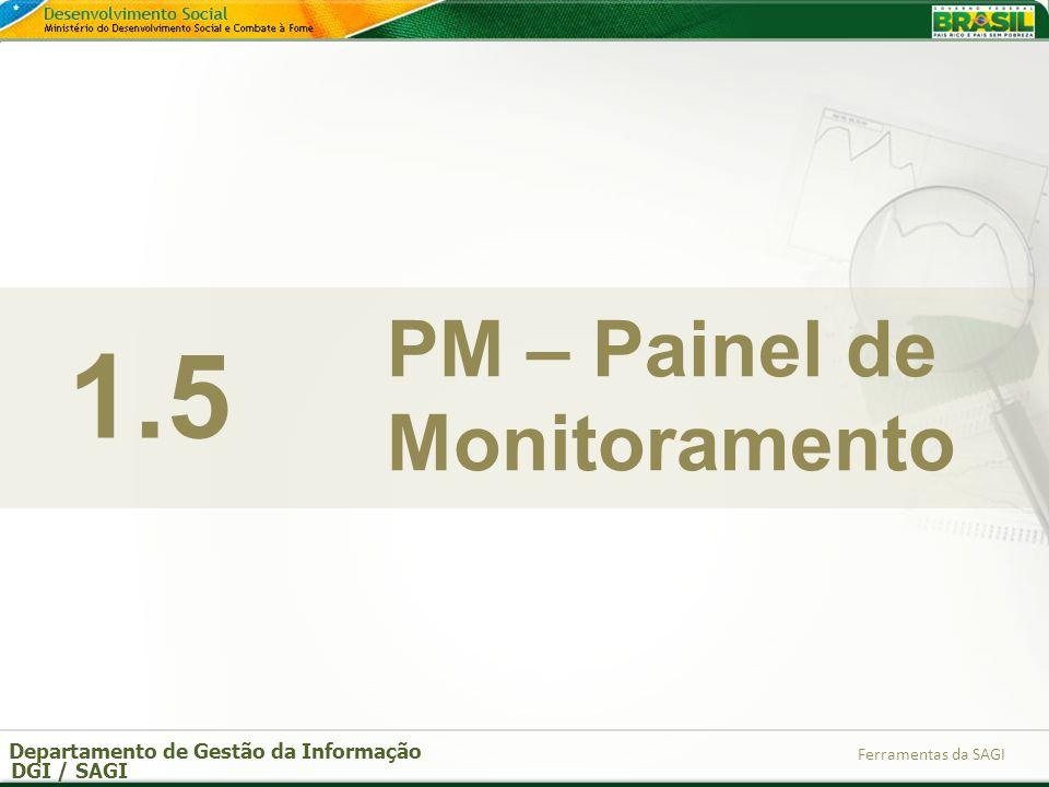 Departamento de Gestão da Informação DGI / SAGI Ferramentas da SAGI 1.5 PM – Painel de Monitoramento