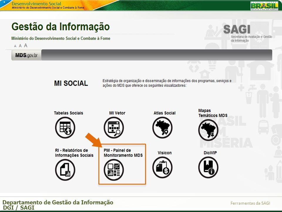 Departamento de Gestão da Informação DGI / SAGI Ferramentas da SAGI
