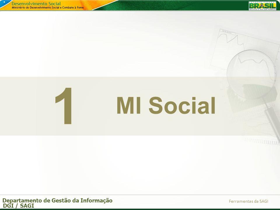 Departamento de Gestão da Informação DGI / SAGI Ferramentas da SAGI MI Social 1