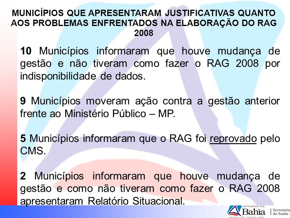 10 Municípios informaram que houve mudança de gestão e não tiveram como fazer o RAG 2008 por indisponibilidade de dados. 9 Municípios moveram ação con