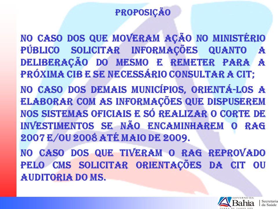 PROPOSIÇÃO No caso dos que moveram ação no Ministério Público solicitar informações quanto a deliberação do mesmo e remeter para a próxima CIB e se ne