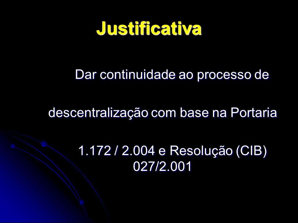Justificativa Dar continuidade ao processo de descentralização com base na Portaria 1.172 / 2.004 e Resolução (CIB) 027/2.001