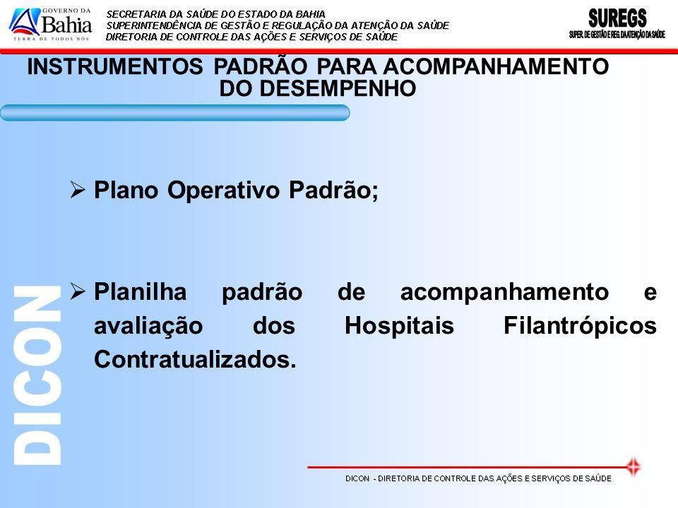 INSTRUMENTOS PADRÃO PARA ACOMPANHAMENTO DO DESEMPENHO Plano Operativo Padrão; Planilha padrão de acompanhamento e avaliação dos Hospitais Filantrópicos Contratualizados.