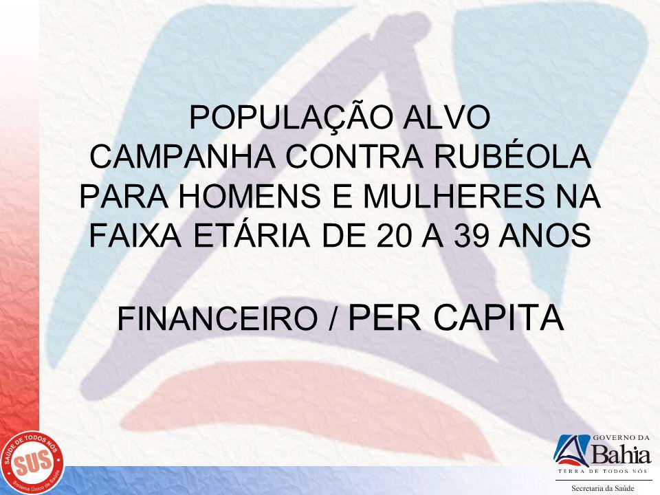 POPULAÇÃO ALVO CAMPANHA CONTRA RUBÉOLA PARA HOMENS E MULHERES NA FAIXA ETÁRIA DE 20 A 39 ANOS FINANCEIRO / PER CAPITA
