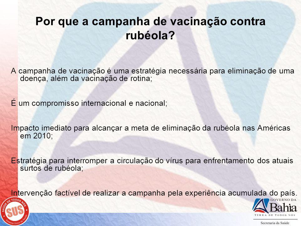 Por que a campanha de vacinação contra rubéola? A campanha de vacinação é uma estratégia necessária para eliminação de uma doença, além da vacinação d