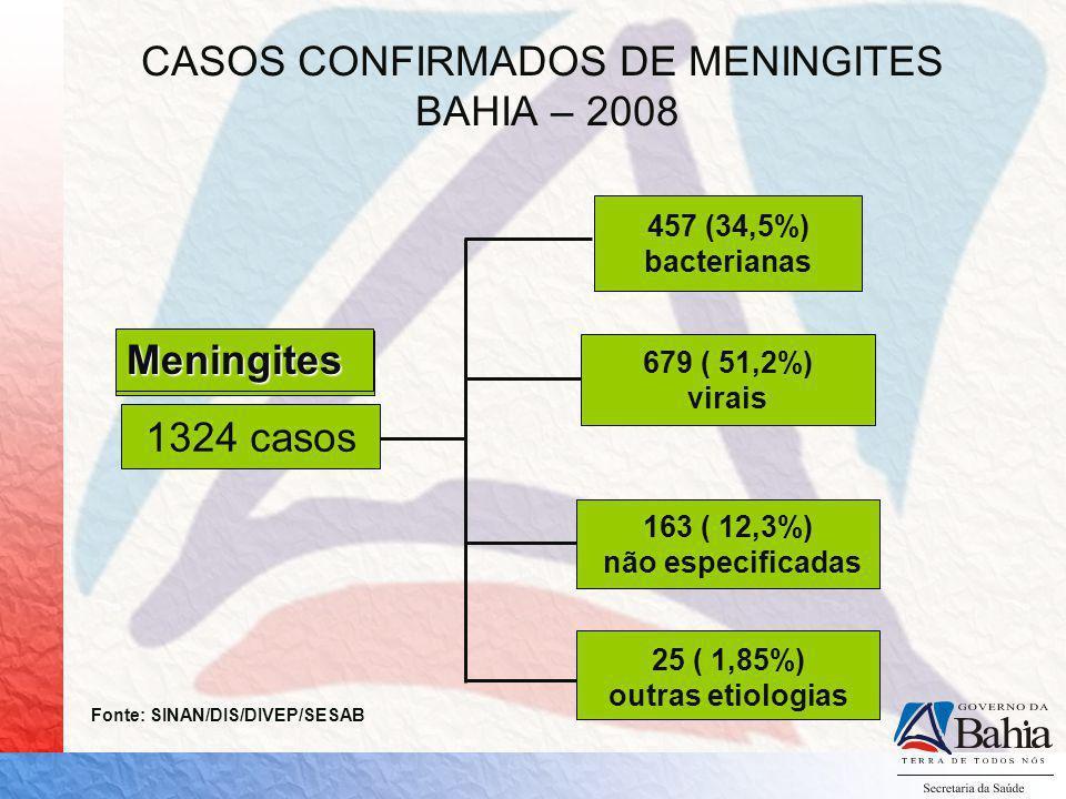 CASOS DE MENINGITES, BAHIA 2008* E 2009* ETIOLOGIA 20082009 M.Bacterianas 276261 M.