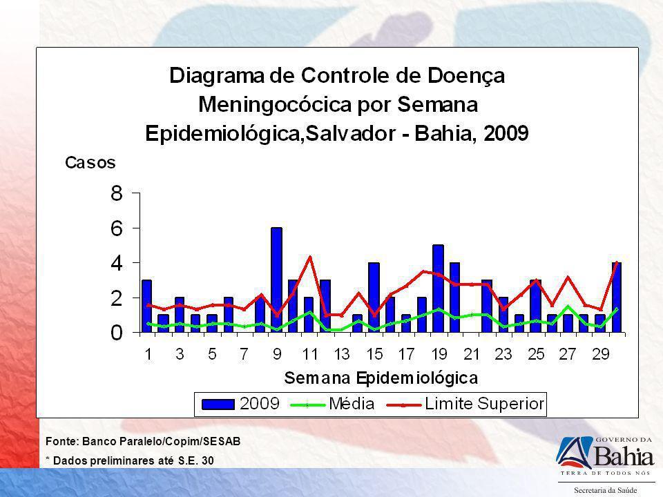 DOENÇA MENINGOCÓCICA MUNICÍPIO DE SALVADOR, 2008* - 2009* 2008 36 CASOS 12 ÓBITOS 24 SOROGRUPO C (88,8%) 03 SOROGRUPO B (11,1%) 2009 60 CASOS 18 ÓBITOS 41 SOROGRUPO C (95,3%) 02 SOROGRUPO B (4,7%) *Dados parciais até SE 30