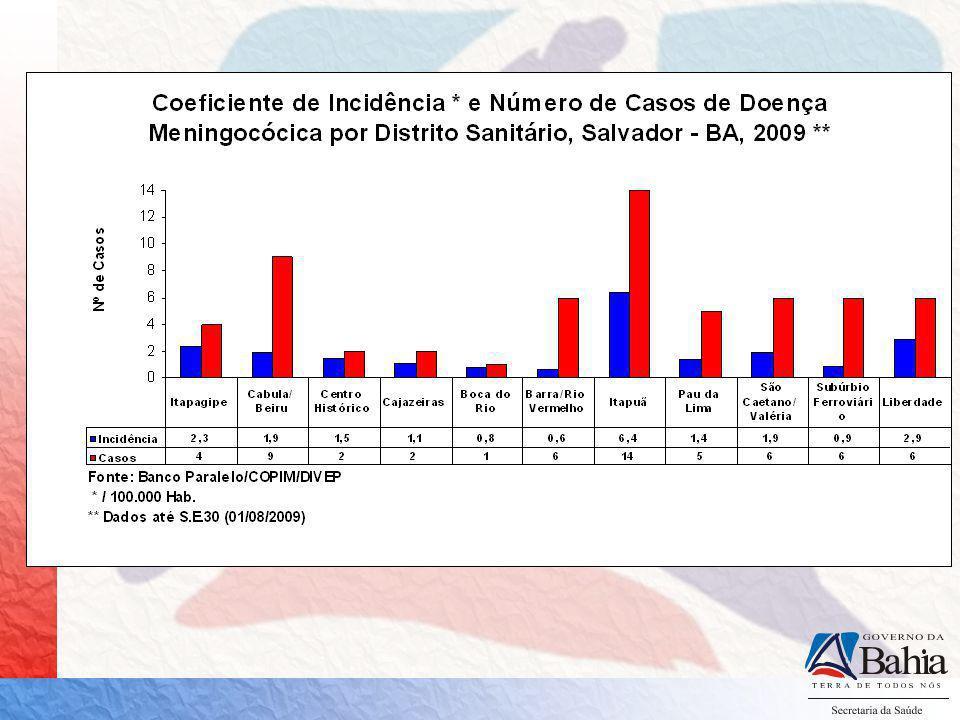 Doença Meningocócica no Distrito de Itapuã em 2009 Número de casos: 15 Óbitos: 03 Período: 11/02 a 09/08 Faixa etária: 1 a 59 anos Sorogrupo C: 10 casos