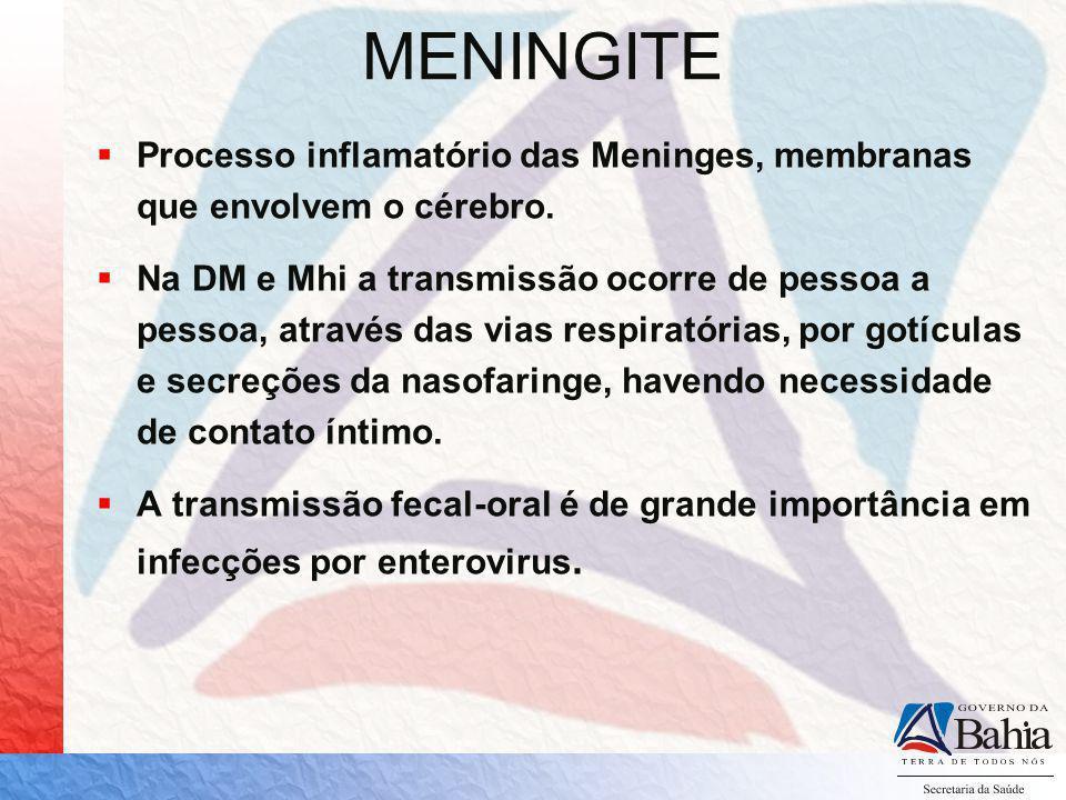 DOENÇA MENINGOCÓCICA Causada pela bactéria Neisseria Meningitidis (Meningococo) Sorogrupos mais frequentes – A,B,C,W135 e Y Aproximadamente 10% da população pode apresentar-se como portador assintomático Apresenta três formas clínicas: - Meningite Meningocócica - Meningococcemia (petéquias) - M.Meningocócica + Meningococcemia