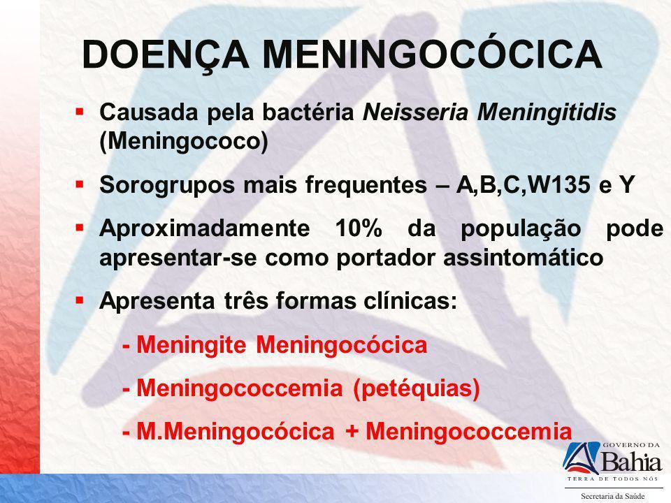 DOENÇA MENINGOCÓCICA Causada pela bactéria Neisseria Meningitidis (Meningococo) Sorogrupos mais frequentes – A,B,C,W135 e Y Aproximadamente 10% da pop