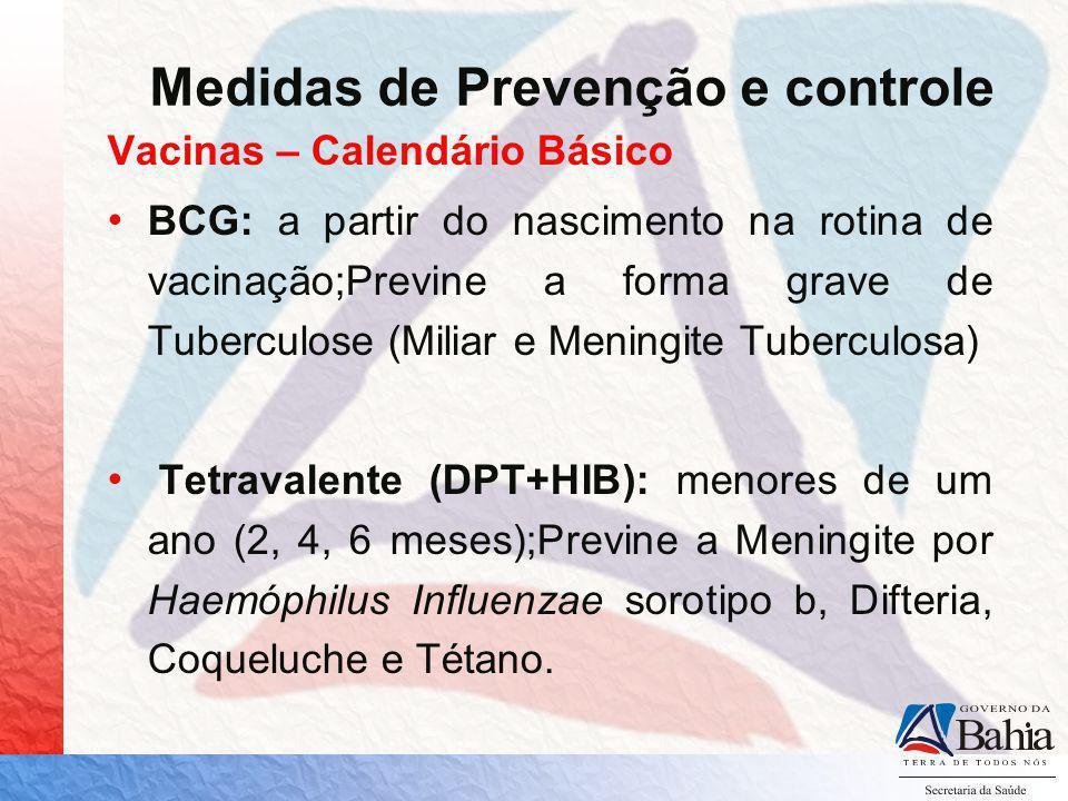 Vacinas – Calendário Básico BCG: a partir do nascimento na rotina de vacinação;Previne a forma grave de Tuberculose (Miliar e Meningite Tuberculosa) T