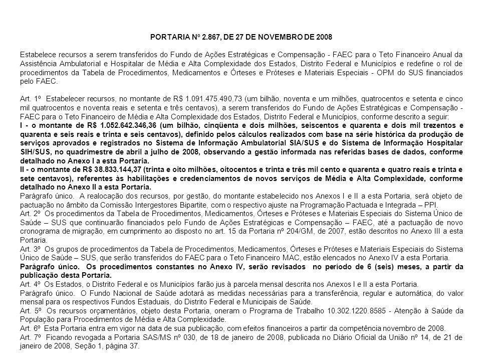 PORTARIA Nº 2.867, DE 27 DE NOVEMBRO DE 2008 Estabelece recursos a serem transferidos do Fundo de Ações Estratégicas e Compensação - FAEC para o Teto