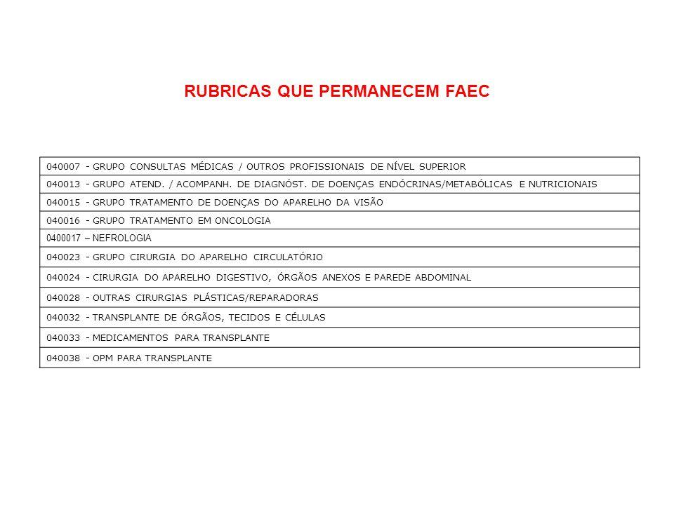 RUBRICAS QUE PERMANECEM FAEC 040007 - GRUPO CONSULTAS MÉDICAS / OUTROS PROFISSIONAIS DE NÍVEL SUPERIOR 040013 - GRUPO ATEND. / ACOMPANH. DE DIAGNÓST.