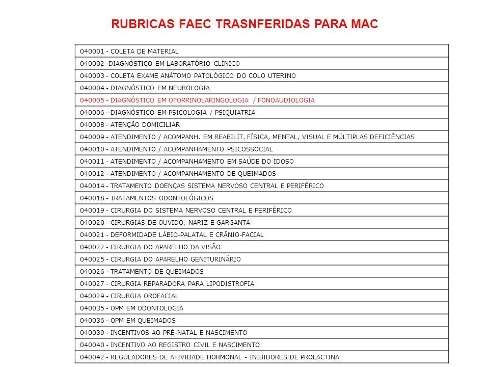 040001 - COLETA DE MATERIAL 040002 -DIAGNÓSTICO EM LABORATÓRIO CLÍNICO 040003 - COLETA EXAME ANÁTOMO PATOLÓGICO DO COLO UTERINO 040004 - DIAGNÓSTICO E