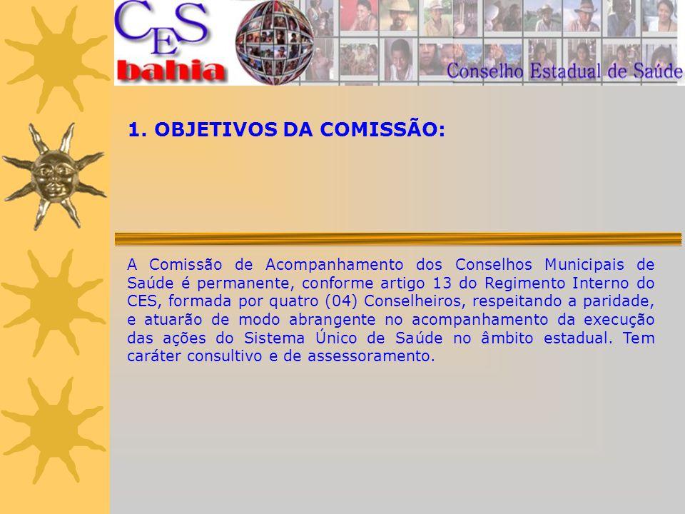1. OBJETIVOS DA COMISSÃO: A Comissão de Acompanhamento dos Conselhos Municipais de Saúde é permanente, conforme artigo 13 do Regimento Interno do CES,