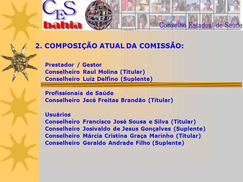 2. COMPOSIÇÃO ATUAL DA COMISSÃO: Prestador / Gestor Conselheiro Raul Molina (Titular) Conselheiro Luiz Delfino (Suplente) Profissionais de Saúde Conse