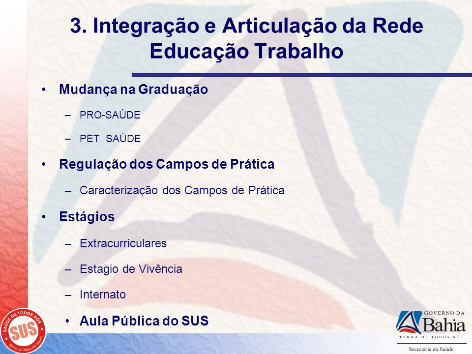 3. Integração e Articulação da Rede Educação Trabalho Mudança na Graduação –PRO-SAÚDE –PET SAÚDE Regulação dos Campos de Prática –Caracterização dos C