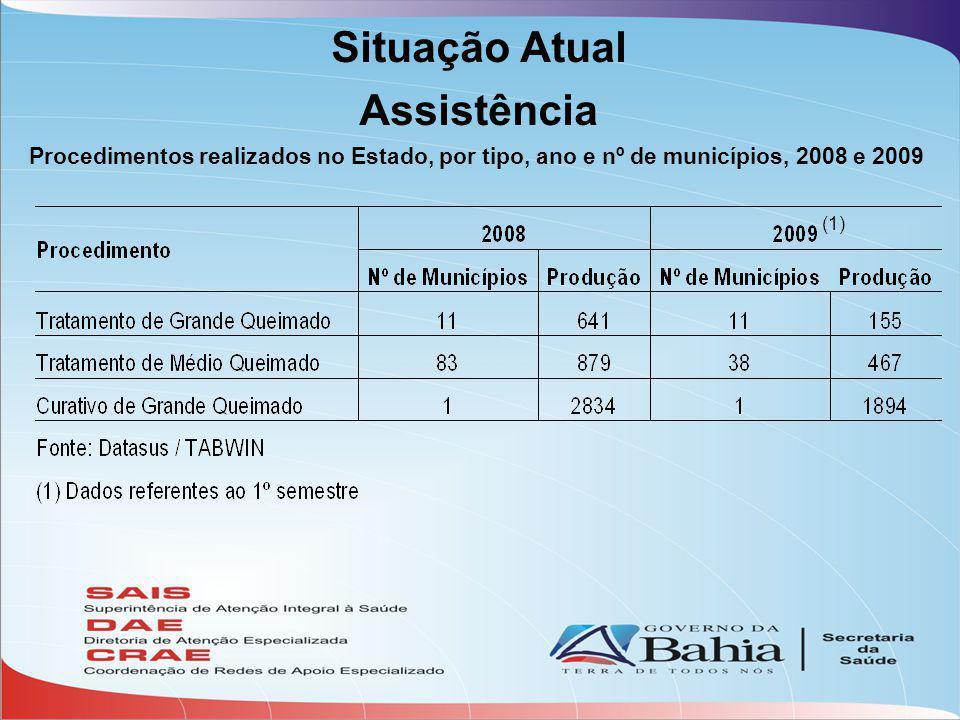 Situação Atual Assistência Procedimentos realizados no Estado, por tipo, ano e nº de municípios, 2008 e 2009 (1)