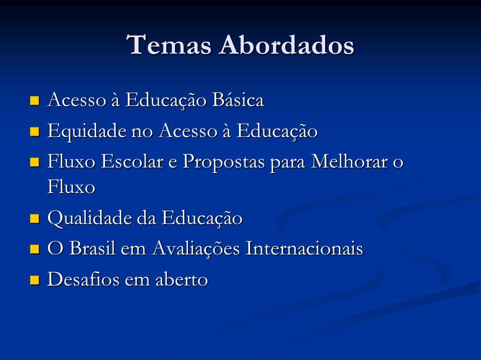 Temas Abordados Acesso à Educação Básica Acesso à Educação Básica Equidade no Acesso à Educação Equidade no Acesso à Educação Fluxo Escolar e Propostas para Melhorar o Fluxo Fluxo Escolar e Propostas para Melhorar o Fluxo Qualidade da Educação Qualidade da Educação O Brasil em Avaliações Internacionais O Brasil em Avaliações Internacionais Desafios em aberto Desafios em aberto