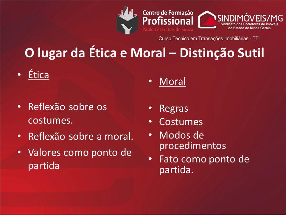 O lugar da Ética e Moral – Distinção Sutil Ética Reflexão sobre os costumes. Reflexão sobre a moral. Valores como ponto de partida Moral Regras Costum