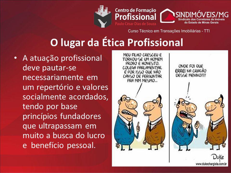 O lugar da Ética Profissional A atuação profissional deve pautar-se necessariamente em um repertório e valores socialmente acordados, tendo por base p