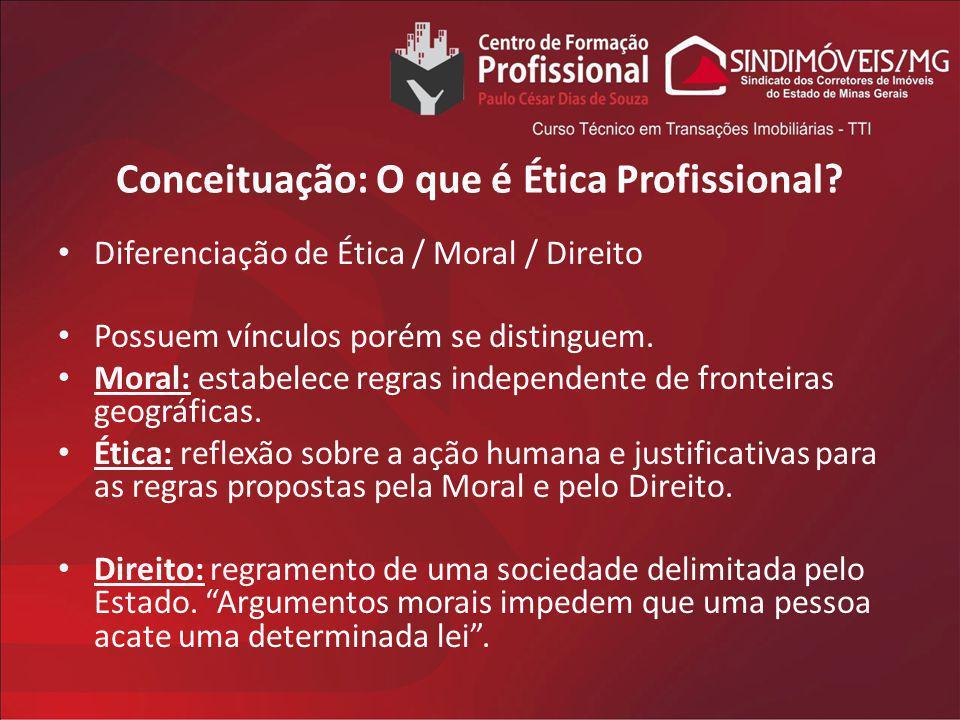 Conceituação: O que é Ética Profissional? Diferenciação de Ética / Moral / Direito Possuem vínculos porém se distinguem. Moral: estabelece regras inde