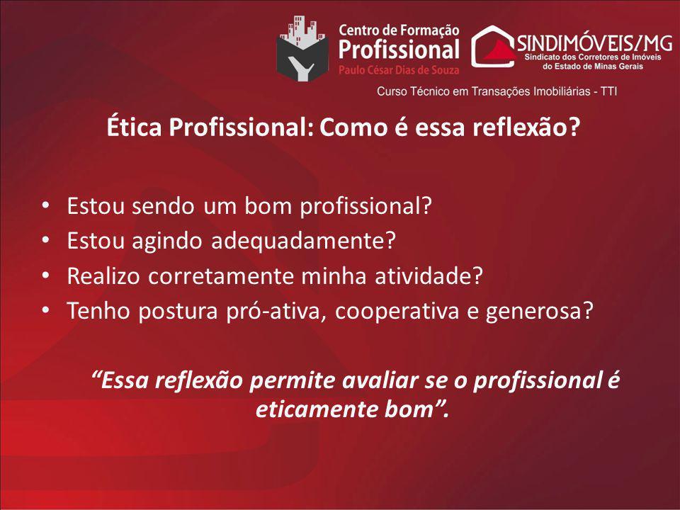Ética Profissional: Como é essa reflexão? Estou sendo um bom profissional? Estou agindo adequadamente? Realizo corretamente minha atividade? Tenho pos