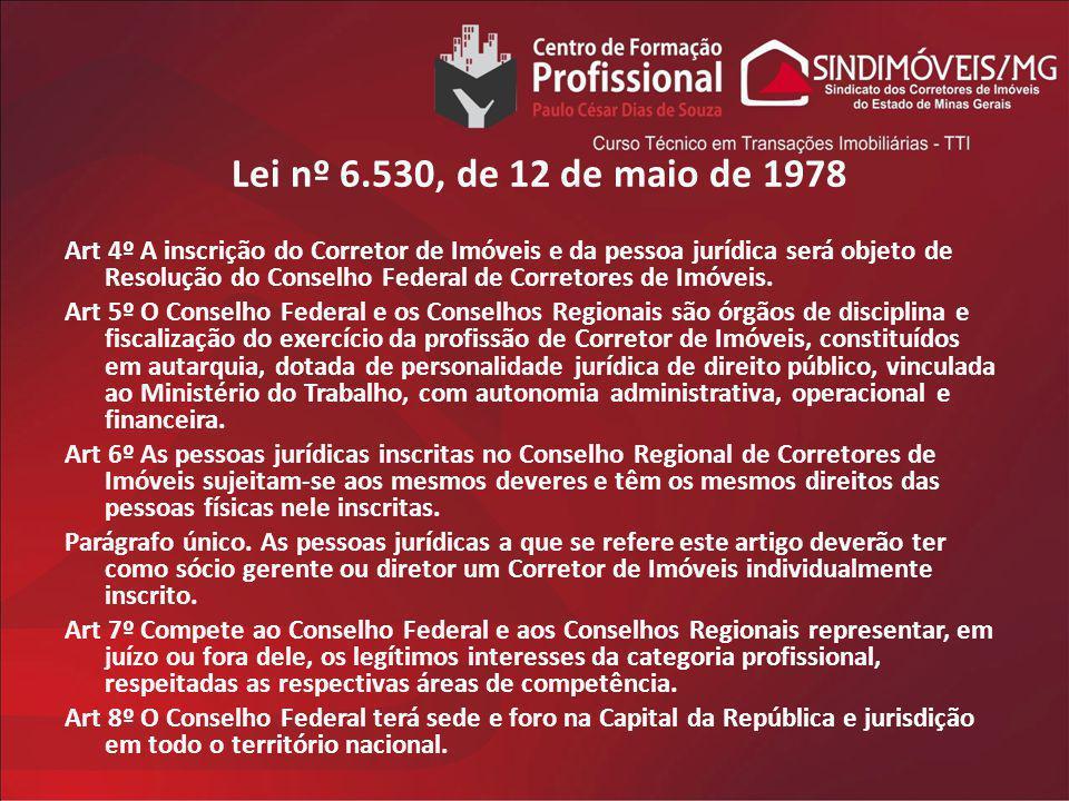 Lei nº 6.530, de 12 de maio de 1978 Art 4º A inscrição do Corretor de Imóveis e da pessoa jurídica será objeto de Resolução do Conselho Federal de Cor