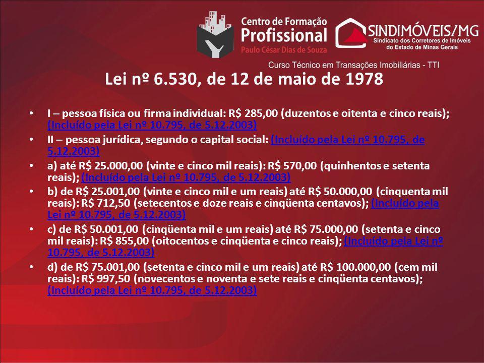 Lei nº 6.530, de 12 de maio de 1978 I – pessoa física ou firma individual: R$ 285,00 (duzentos e oitenta e cinco reais); (Incluído pela Lei nº 10.795,