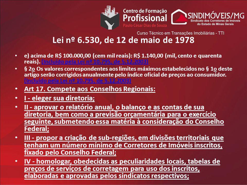 Lei nº 6.530, de 12 de maio de 1978 e) acima de R$ 100.000,00 (cem mil reais): R$ 1.140,00 (mil, cento e quarenta reais). (Incluído pela Lei nº 10.795