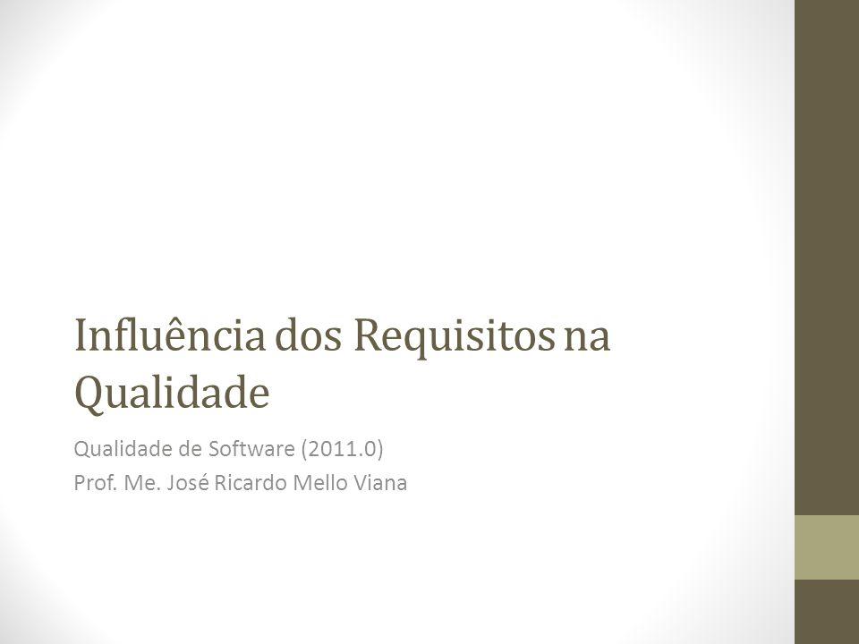 Influência dos Requisitos na Qualidade Qualidade de Software (2011.0) Prof. Me. José Ricardo Mello Viana
