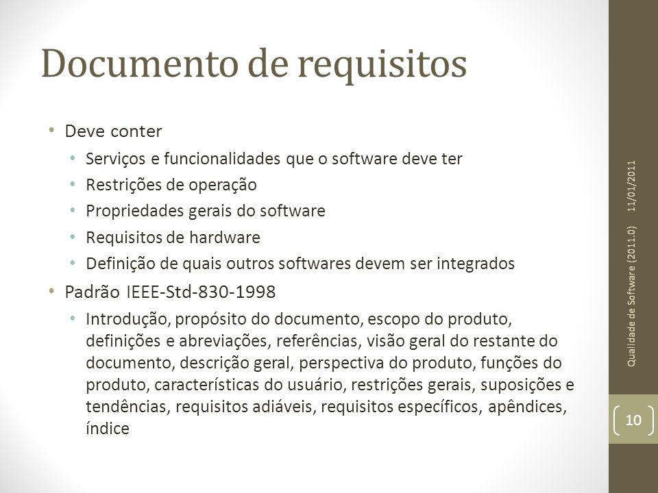 Documento de requisitos Deve conter Serviços e funcionalidades que o software deve ter Restrições de operação Propriedades gerais do software Requisit